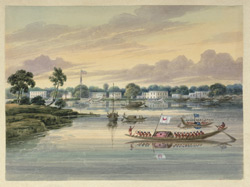 Houses along the river bank, one flying the union flag, state barges and budgrows [budgerows] in the foreground
